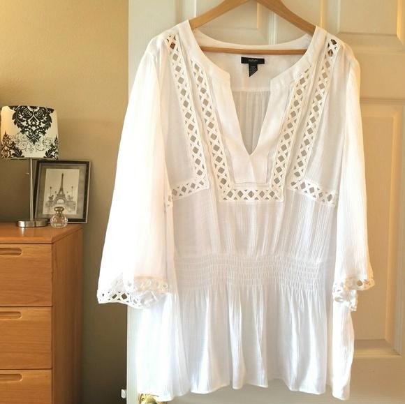 379f48bbf9e Alfani Tops   White Boho Plus Size White Tunic Top   Poshmark